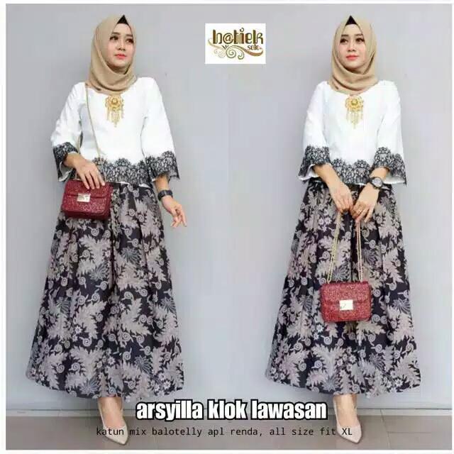 Bayar Ditempat Dress Batik Kebaya Batik Kondangan Gamis Wanita Terbaru Baju Muslim Wanita Terbaru Arsyilla Rok Klok Lawasan