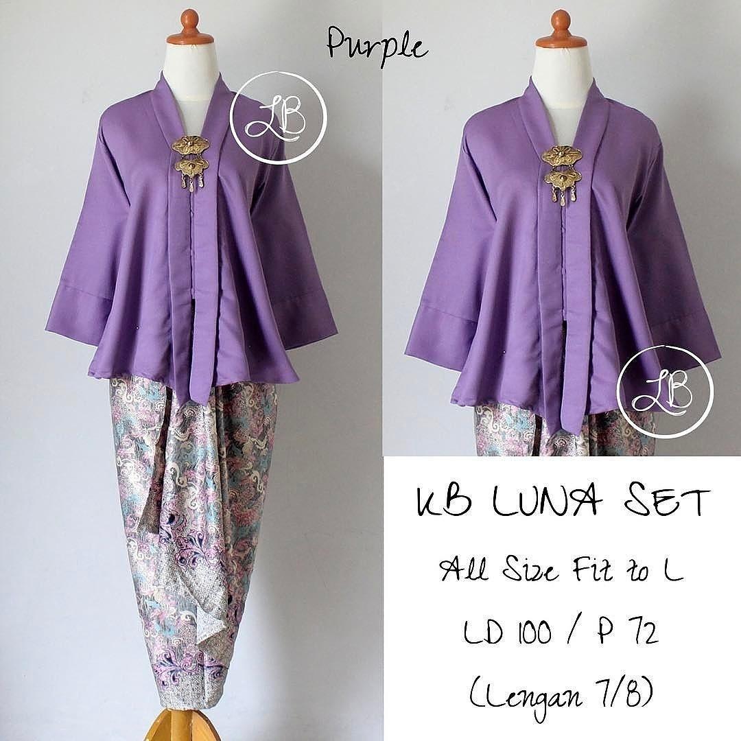 kebaya modern setelan kebaya kutubaru floy balotelly set baju batik wanita set rok lilit mewah pink - purple