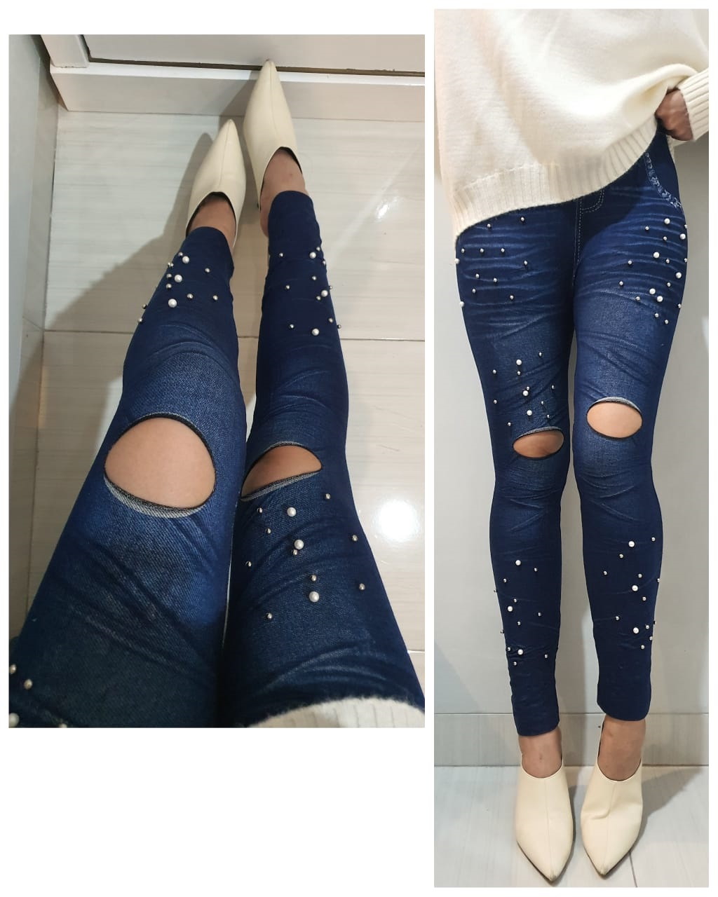 Sistaque Celana Legging Wanita Motif Jeans Sobek Lutut Variasi Mote Mutiara Modiffa Lazada Indonesia