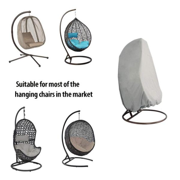 Outdoor Patio Hanging Chair Cover, Heavy Duty Egg Swing Chair Covers Dust Cover, Outdoor Garden Waterproof Protector (Grey)