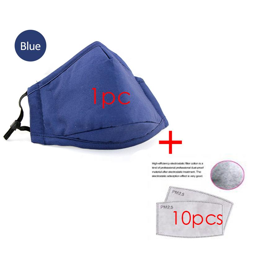 Bilingbling 1 Cái Mouthmask Và 10 Chiếc Bộ Lọc PM2.5 Mặt Nạ Phòng Độc Chống Sương Mù Và Chống Bụi Trưởng Thành Cotton Nam Nữ chống Dustspit (3 Màu)