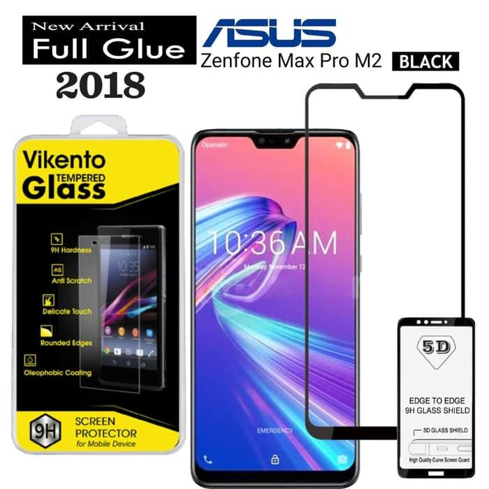 Full Coverage Screen Protector For Asus Zenfone Max Pro M2 ZB631KL 9H Anti Gores Kaca 5D Full Glue Tempered Glass Vikento For Asus Zenfone Max Pro M2 ZB631KL