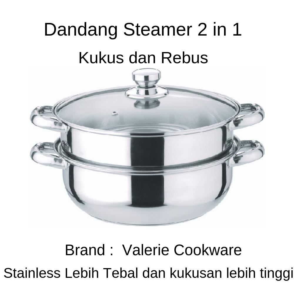 Valerie Cookware Dandang Steamer 2 In 1 Ukuran 28 Cm Stainless Steel Tebal By Paling Laku.