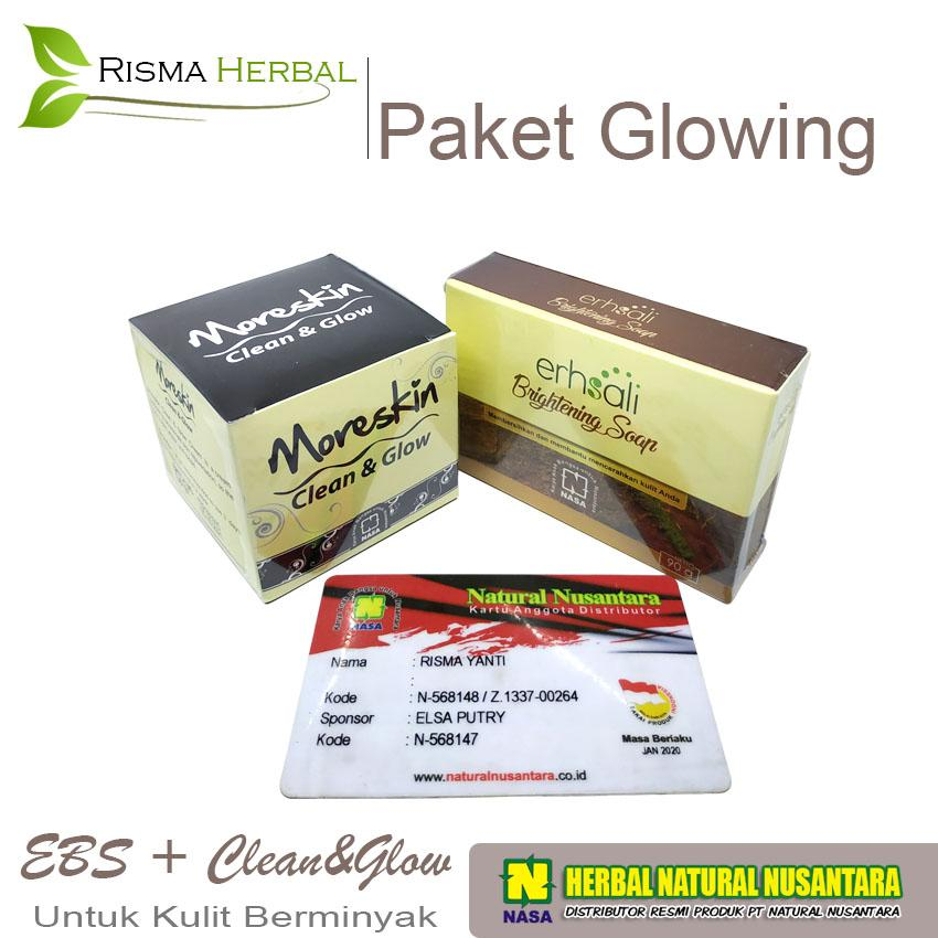 PAKET GLOWING - Pemutih Wajah - Moreskin Clean and Glow + Erhsali Brightening Soap - Atasi