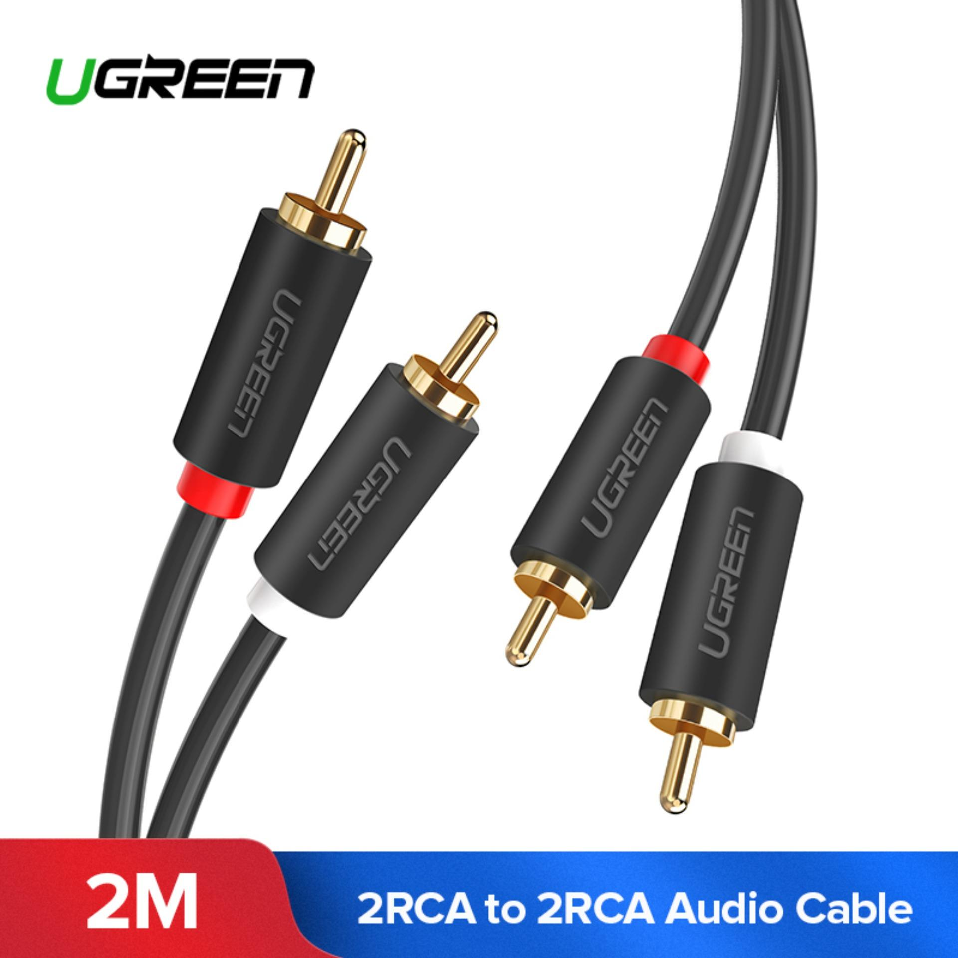 UGREEN 2Meter 2RCA to 2 RCA Male to Male Audio Kabel Gold-Plated RCA Audio Cable for Home Theater DVD TV Amplifier CD Soundbox
