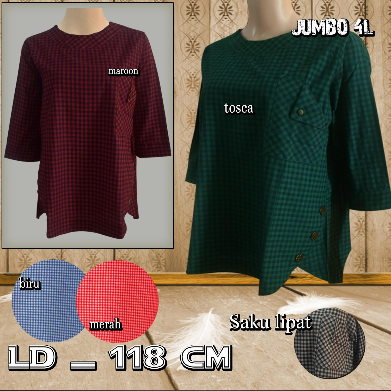 Vrichel Collection Kemeja Jumbo Polos (Ungu Muda). Source · Baju Atasan Wanita / Blouse Wanita Jumbo 4L - Batok Oval Motif