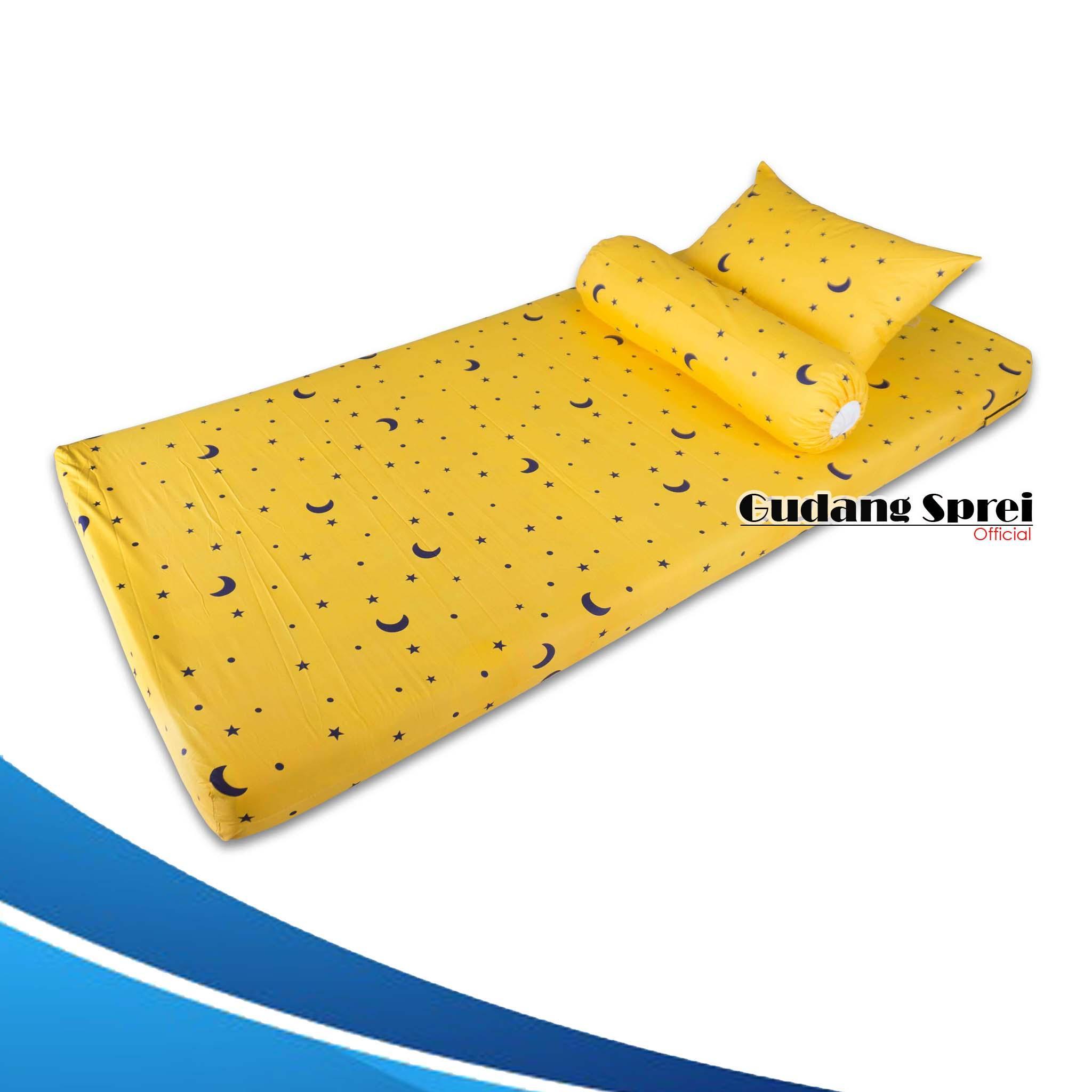 Sprei Resleting Sarung Kasur Busa Motif Blue Star & Yellow Star No.4