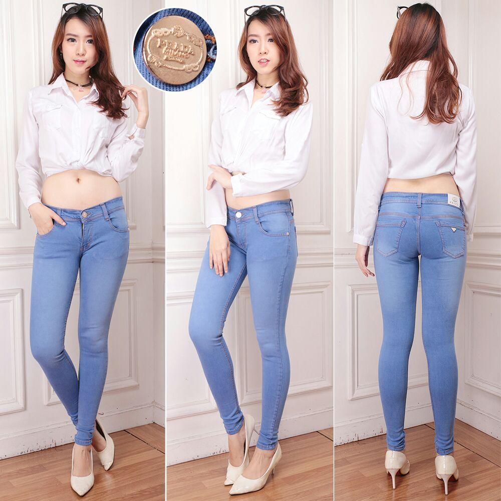 SC - Celana Wanita Skinny Jeans Terbaru Bahan SoftJeans Street Denim Ripped