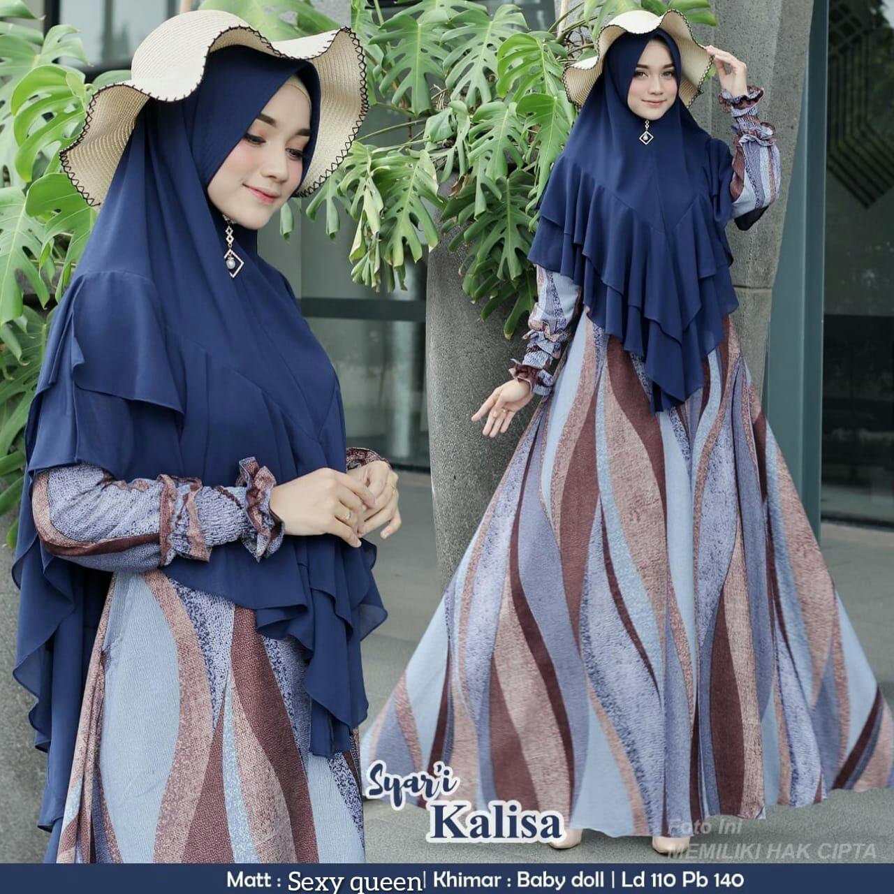 Flowren Gamis Syari KALISA Set KERUDUNG / Khimar Bisa COD ( SEXY QUEEN LD  11 cm ) Syari Polos Stelan Muslim Set Syari Khimar Cadar Set Syari Polos