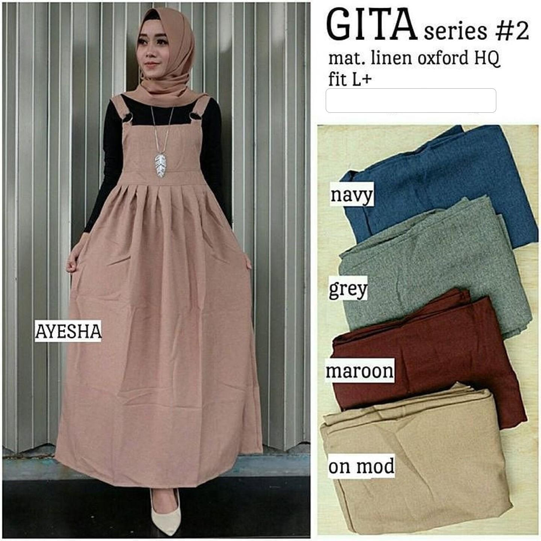 Dress Gita Overall Gamis Overall Dress Baju Kodok Baju Pesta Busana Muslim Wanita Jumpsuit Busana Muslim Lazada Indonesia