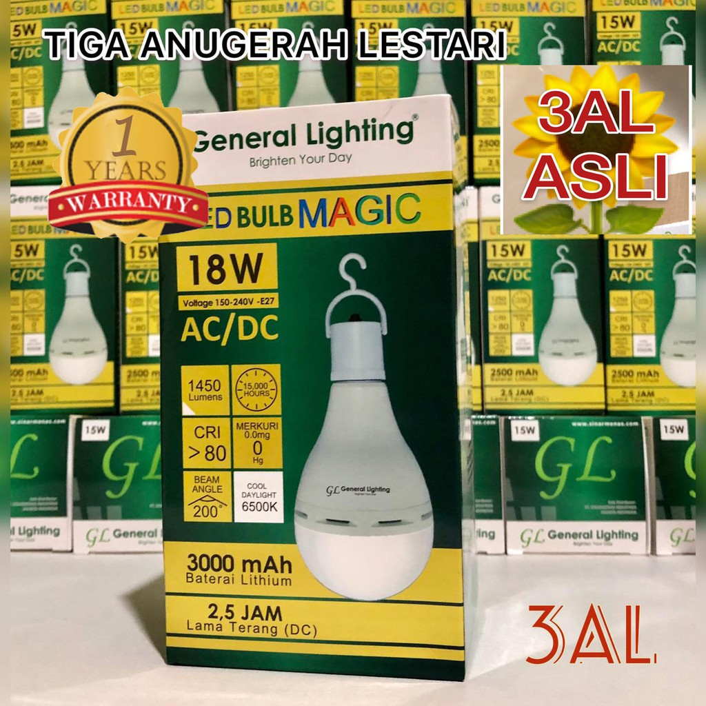 18W, Lampu Bohlam Emergency LED Magic Bulb GENERAL LIGHTING 18 Watt, Garansi 1 (satu) Tahun