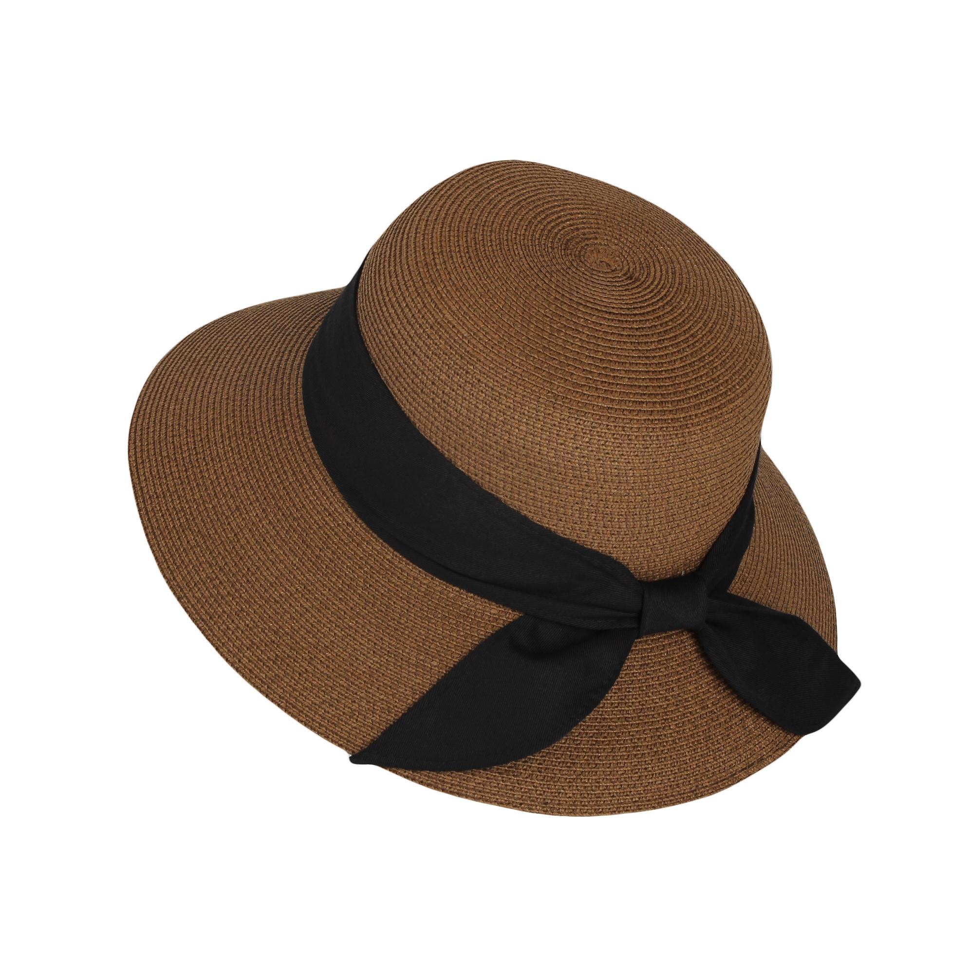 a2413771d WITHMOONS Floppy Summer Beach Sun Hat Paper Straw Ribbon Banded KR91202  (Beige)