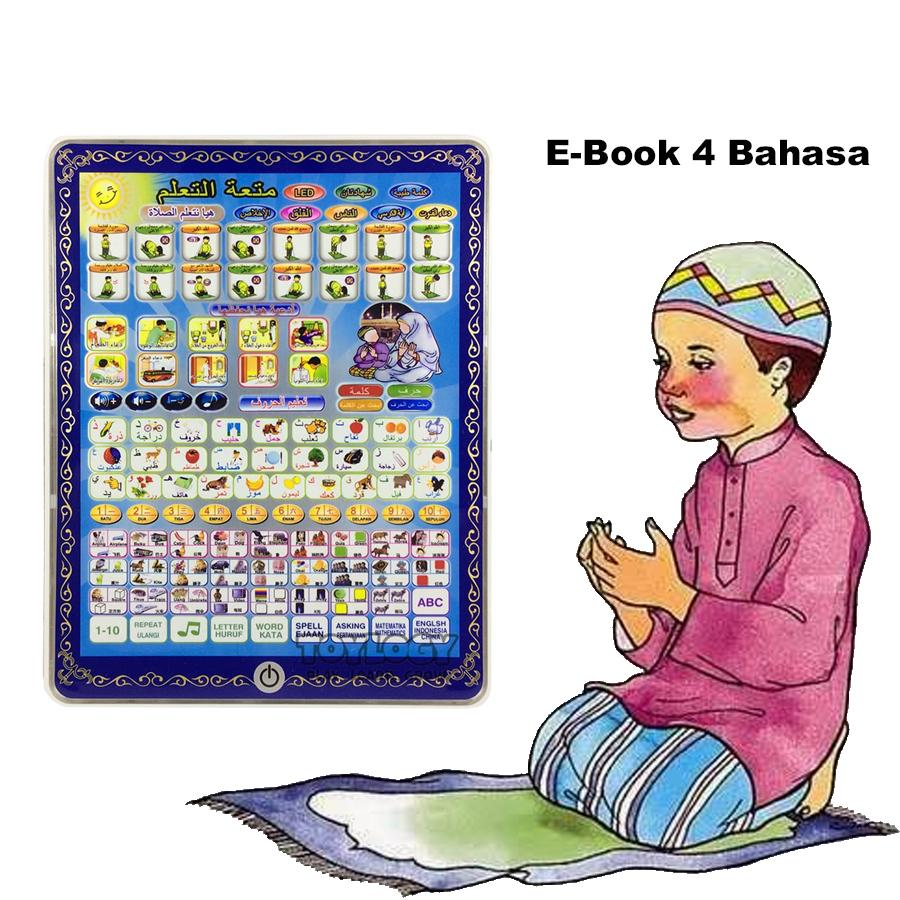 Mainan Anak Muslim - Playpad Ebook Muslim 4 in 1 - E Book Muslim 4 Bahasa with LED Light (ukuran besar) - Apple Quran Tablet Version Mainan Anak Edukasi ...