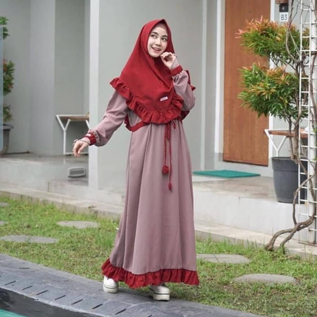 Baju Muslim Original ASHAROFA SYARi Bahan MOSSCRAPE Dapat GAMIS + KHIMAR  Gamis Syari Set Khimar Terbaru 11 Gamis Syari Remaja Simple Gamis Syar'I