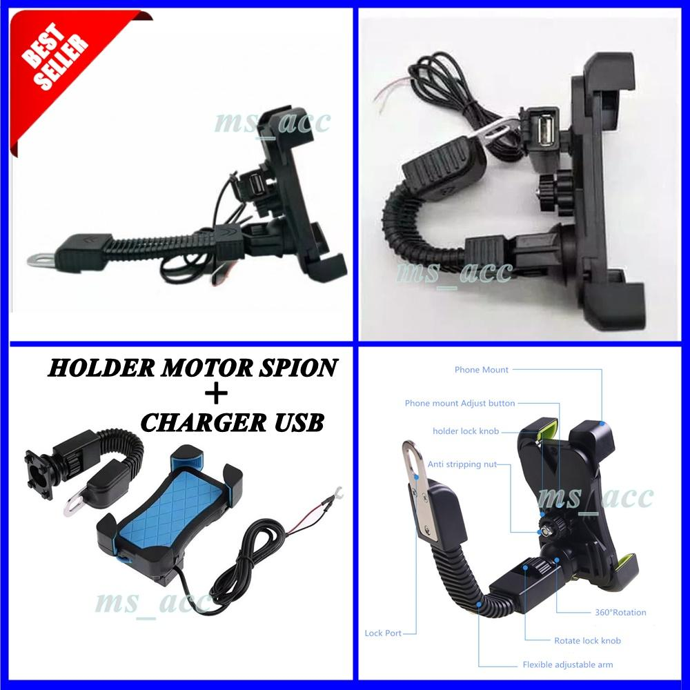 Universal Holder Motor + Charger USB / Holder Motor Untuk HP & GPS [ ms_acc ]