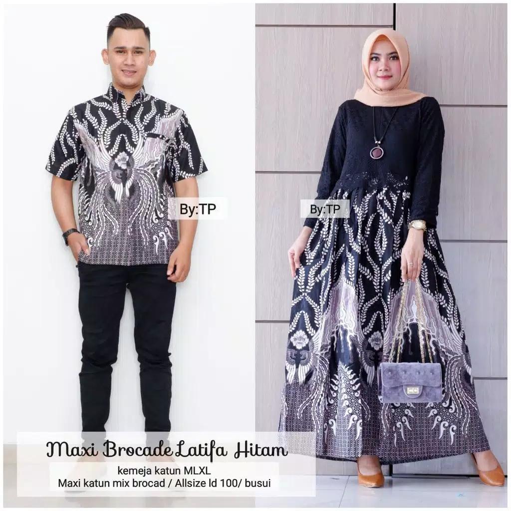 Batik Couple Modern Murah Terbaru-Batik Couple-Batik Gamis-Batik Muslim-Batik Wanita Cp Latifa By Sultan Aha.