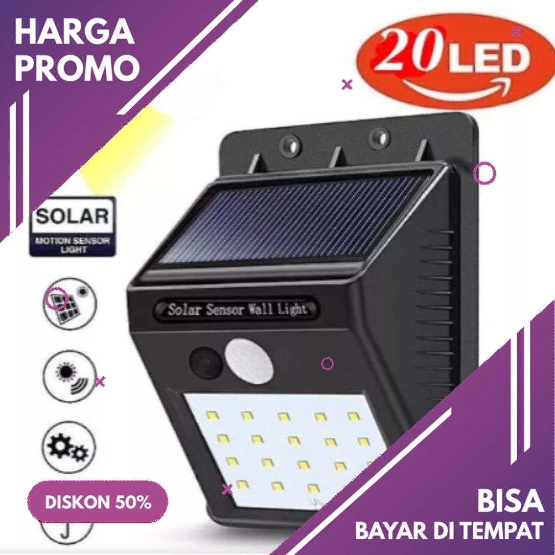 BISA COD Lampu Solar Cell Power 20 LED Wall Motion Sensor Light Outdoor Tenaga Matahari Panel Surya Teras Taman Dinding Tembok Cahaya Gerak Nyala Otomatis Malam Emergency Waterproof