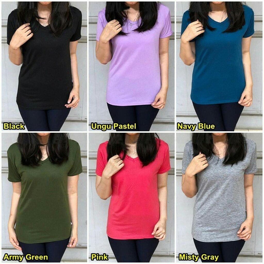 VENUS_FASHION55 KAOS OBLONG VNECK POLOS SPANDEX 14WARNA