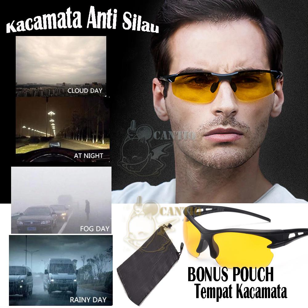 Qcf Kacamata Anti Silau Siang Dan Malam Kaca Mata Motor Hd Vision Night-Vision Goggles Sports Sunglasses Polarized Glasses Riding Mirror Kacamata Motor Anti Silau / Kacamata Motor / Kacamata Pengendara + Free Pouch Case - Yellow By Cantiq.