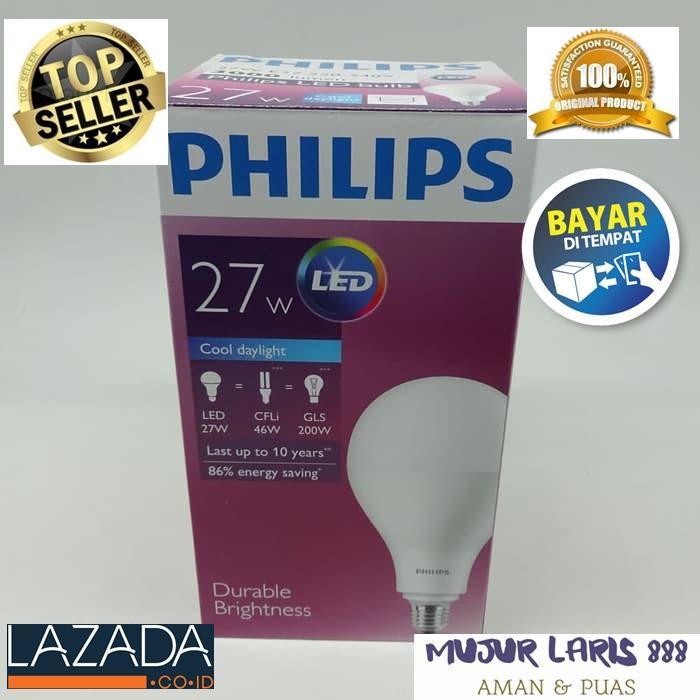 Philips Paket Murah 2 pcs Bohlam Lampu LED Hemat Energi 27W Sangat Terang Warna Putih Bersih
