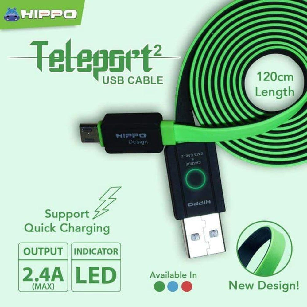 Kabel Data Hippo Teleport 2 Micro USB 120 Cm Original For Samsung XiaoMi Oppo Vivo Lenovo LG Meizu Infinix Asus Charger Casan Ori 120cm Fast Charging