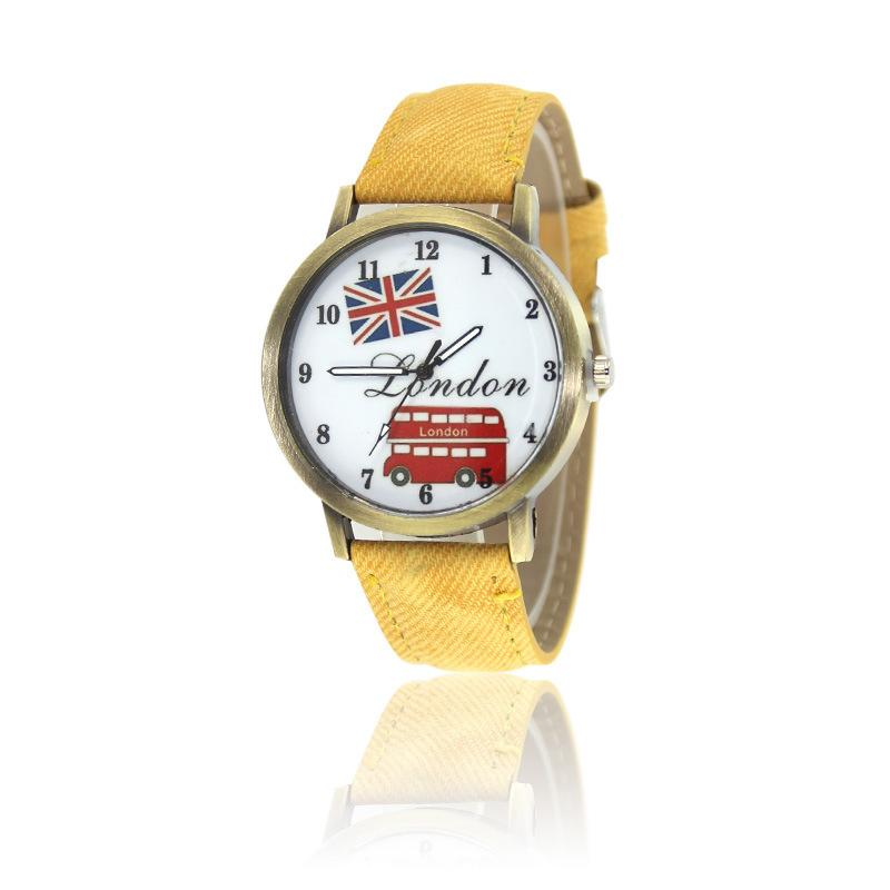New retro men and women London bus British flag watch Casual fashion denim canvas table Malaysia