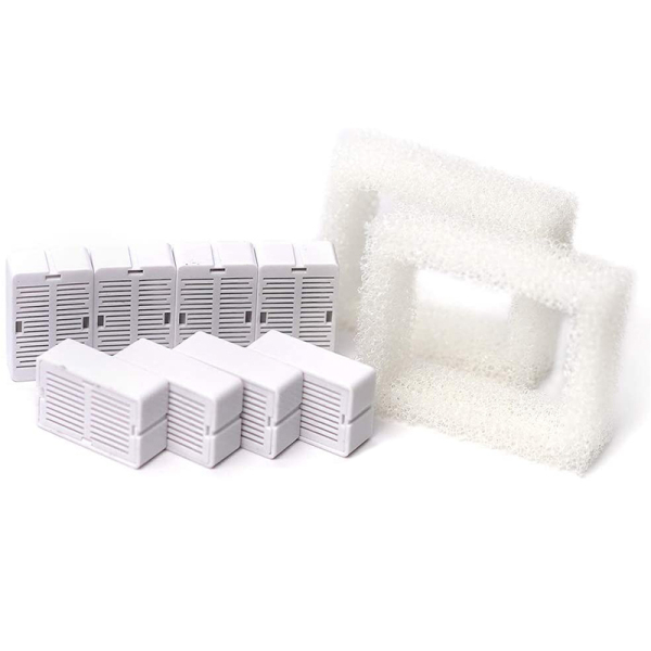Used for 360 Ceramic Fountain Replacement Filters, Including 8 Carbon Filters and 2 Foam Filters