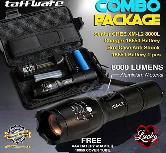 Taffware E17 Senter Led Tactical Cree Xm-L2 8000l + Baterai 18650 & Charger By