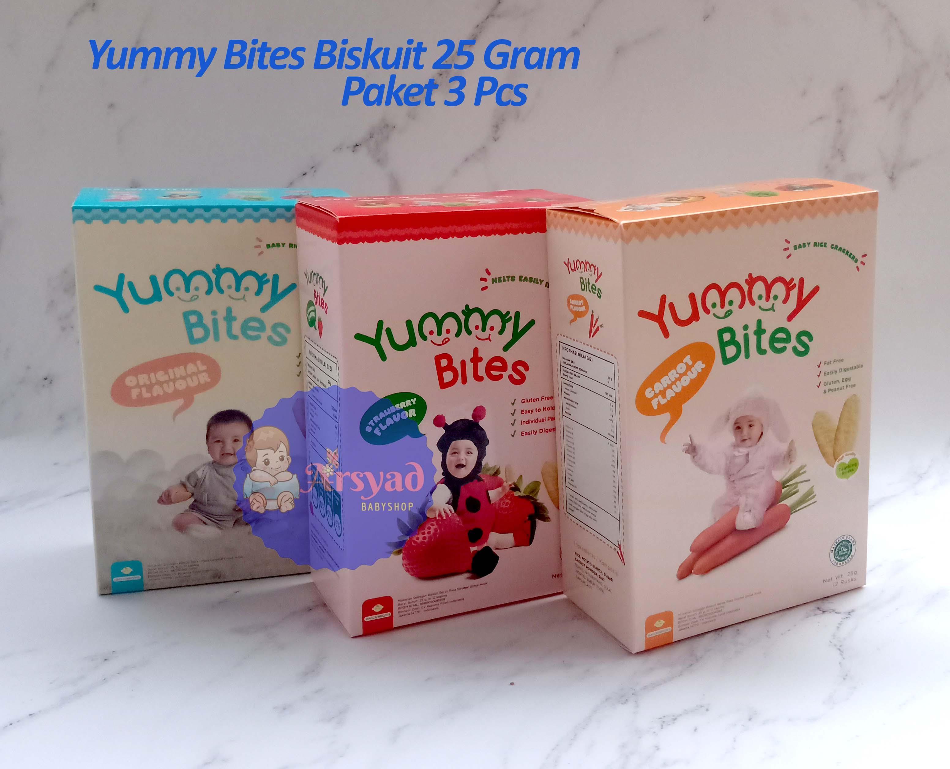 Arsyad Babyshop - Paket 3 Pcs Yummy Bites Rice Crackers 25 Gram - Makanan Anak Biskuit Bayi By Arsyad Babyshop.