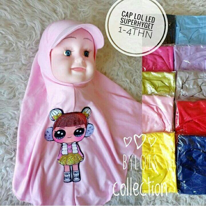 Hijab Kerudung Anak Bayi Balita Syiria Bergo Khimar Jilbab Topi Anak Karakter LOL LED nyala satu Jiltop Anak PAUD TK SD LOL LED
