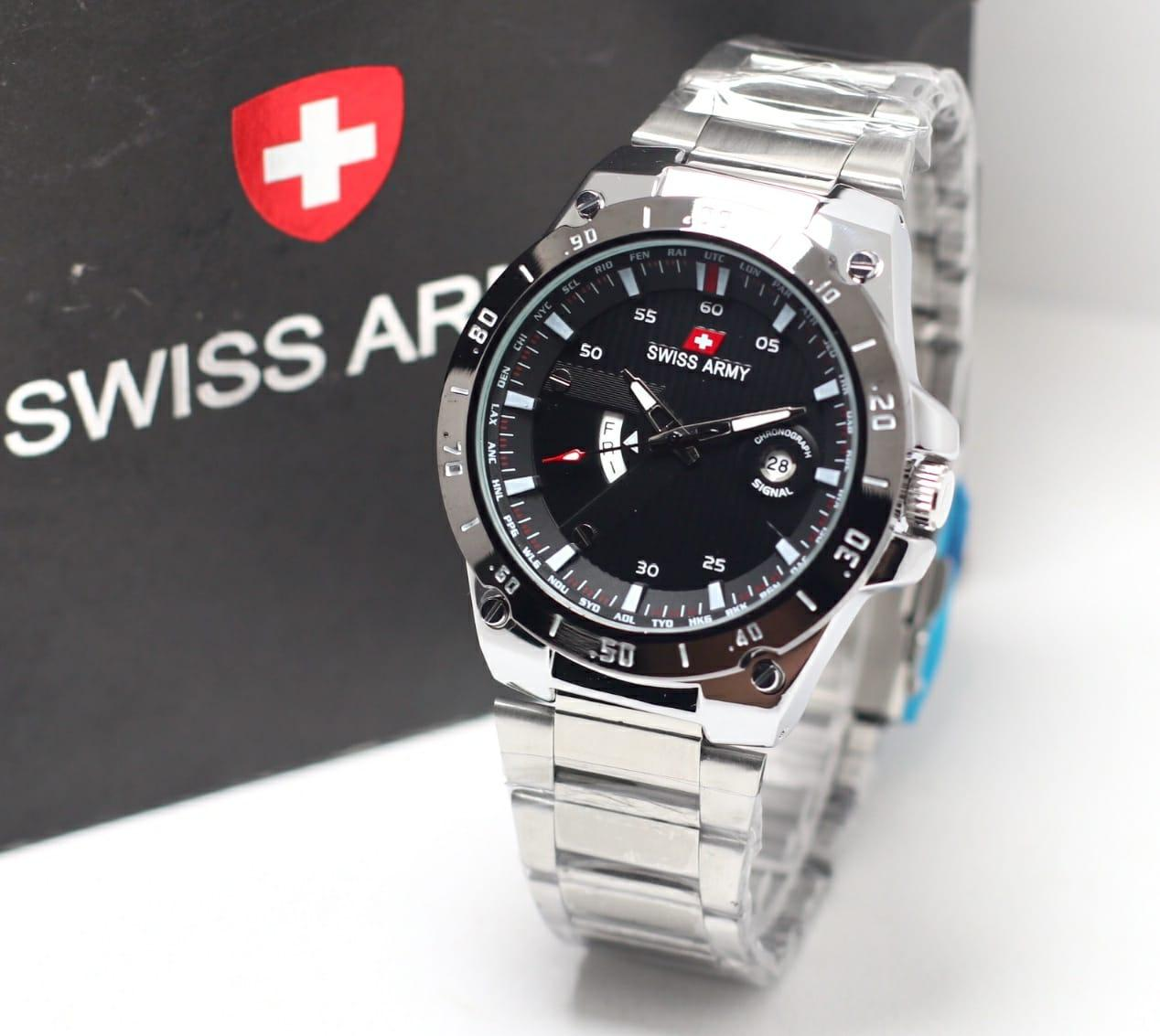 Swiss Army - Jam Tangan Pria - Silver - Stainless Steel Band -JR SA 5028