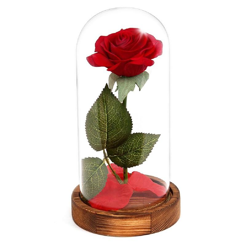 Eternal Rose Flower Red Silk Rose And Led Light With Fallen Petals In Glass Dome On A Wooden Base Best Gift For Valentines Day Wedding Anniversary Birthday Brown By Ertic.