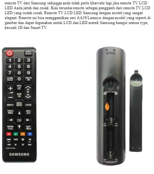 Samsung Original Remote for LCD or LED TV AA59-00798A - Remote TV Samsung Original 100%.