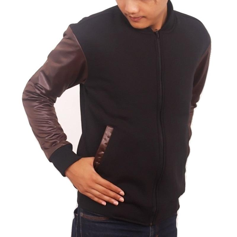 Ormano Jaket Ariel Noah Black Knight Resleting Jacket Hoodie Fleece Kombinasi Lengan Kulit Nyaman M