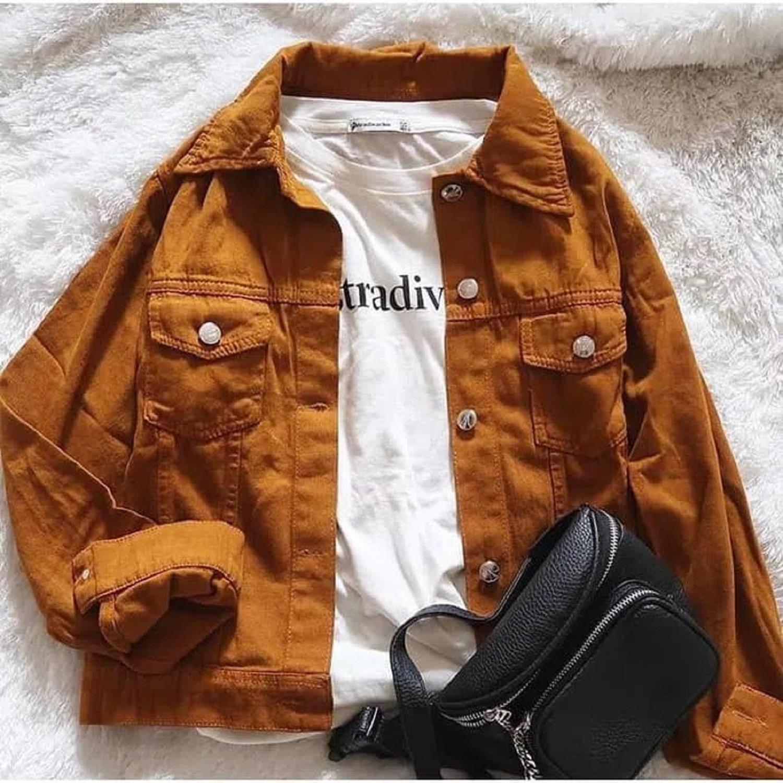 Fox- Jacket Jeans Oversize Cowo Cewe Polos/ PHOTO ASLI /Jaket Denim/ coklat Jaket Jins/ Outer Denim/ Jeans LEVIS LEPIS2/JAKET JEANS