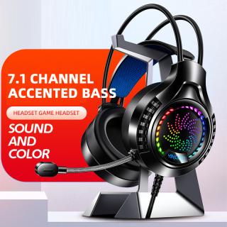 Almun 1 Chiếc Tai Nghe Có Dây Gắn Đầu Q7 Đèn Led Chuyên Nghiệp Tai Nghe Game Thủ Có Micrô, Tai Nghe Giảm Tiếng Ồn Cho PS4 Xbox PS5 Một Máy Tính Bass Stereo PC Chơi Game Headset Ready Stock thumbnail