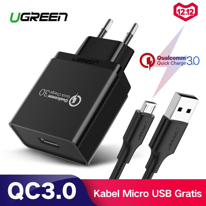 UGREEN QC3.0 Quick Charge 3.0 Quick Charger for Xiaomi Redmi Samsung Huawei Handphone hp 18W Fast Charger Black + Free 1 Meter Fast Charging Micro USB Kabel