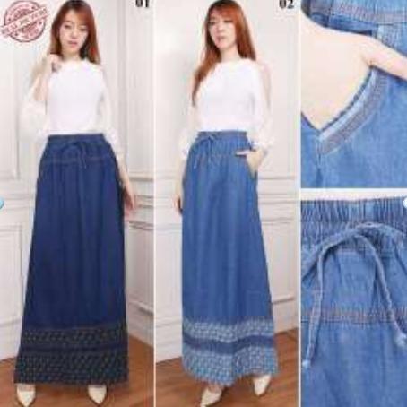 Rok maxi jeans payung panjang renda wanita jumbo long skirt Naura - BBS