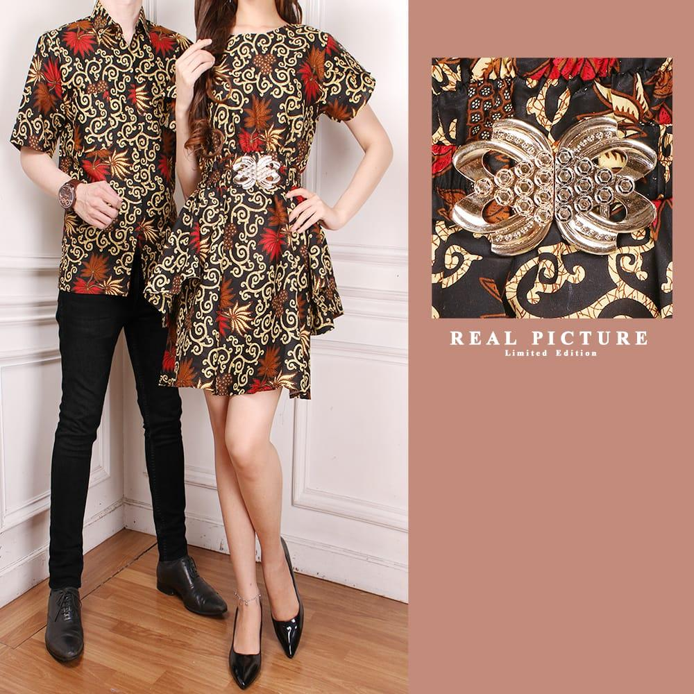 Glow fashion Batik couple 2in1 dress maxi pendek wanita mini dress dan atasan kemeja pria shirt