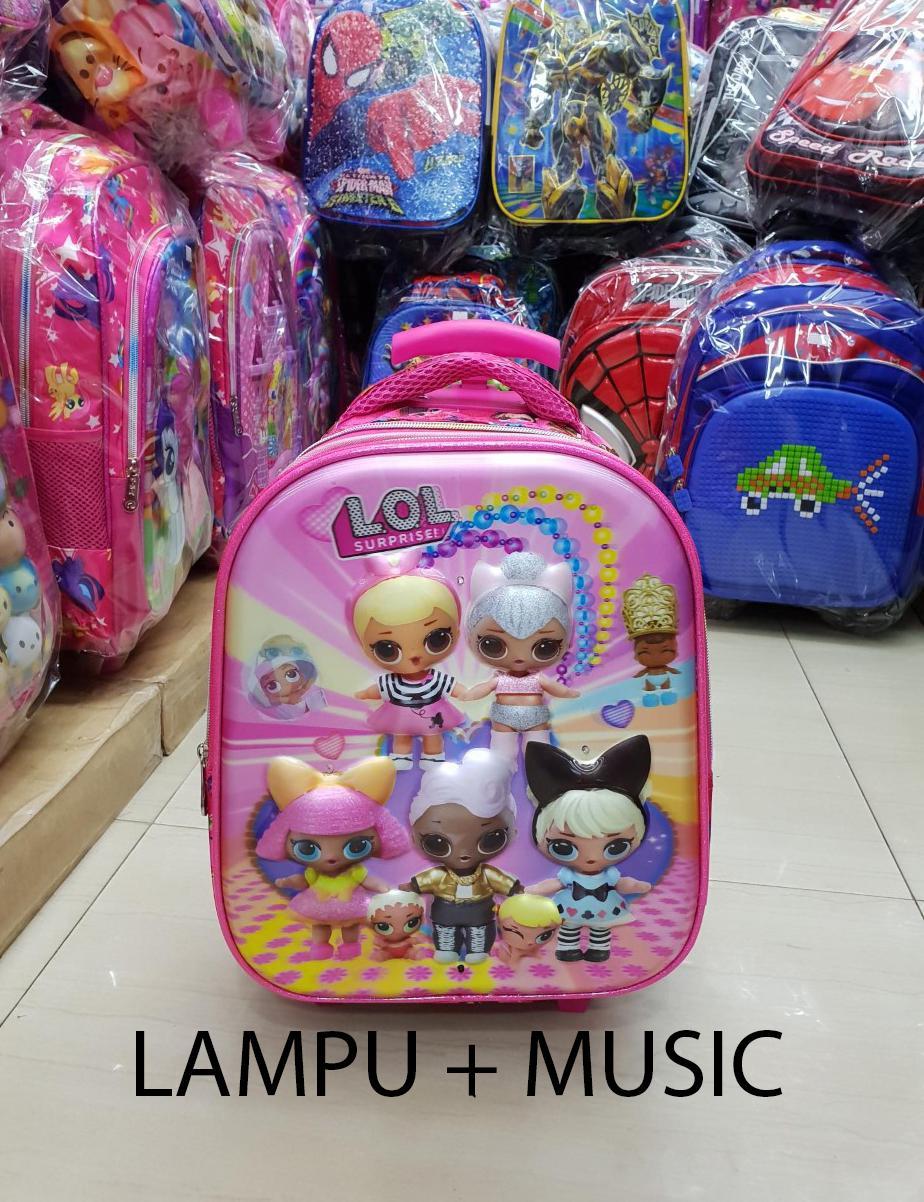 Onlan Tas Lampu & Music Trolley Anak Sekolah TK Motif LOL - Tsum - Little Pony