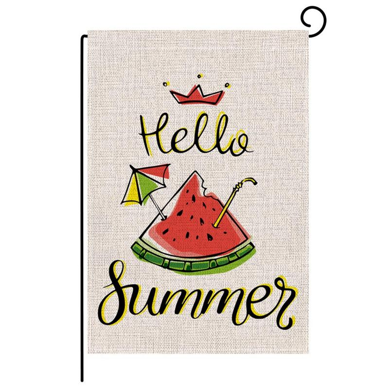 2Pcs Burlap Garden Flag Summer Welcome Double Sided Yard Flags Decoration For Outdoor Party--Watermelon Giá Tốt Duy Nhất tại Lazada