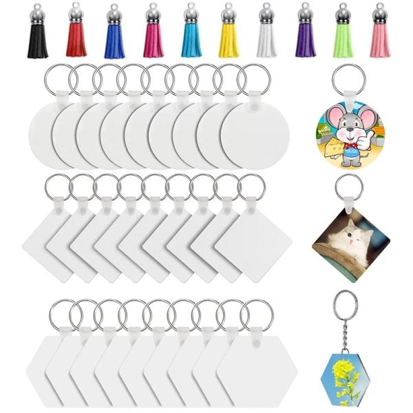 Sublimation Blank Keychain Heat Transfer Keychain MDF DIY Blank Keychain with Key Chains and Colorful Tassels (60Pieces)