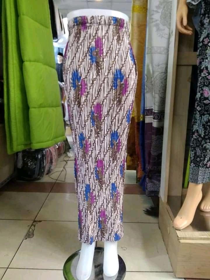 Glow Collection Lelita Rok span plisket panjang batik wanita jumbo long skirt Fit to XXL