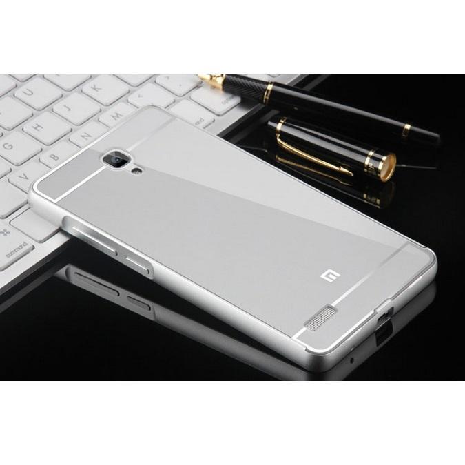 Aluminium Bumper with PC Back Cover for Xiaomi Redmi Note - Silver