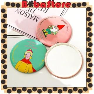 Bobastore - R029 Cermin Kaca Karakter Kartun Bulat Mini Hand Mirror Make Up Traveling Lucu Import thumbnail
