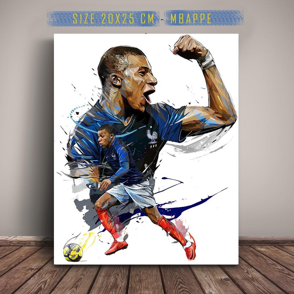 KYLIAN MBAPPE Poster Art Ilustrasi Sketsa Pemain Sepak Bola Prancis Football Perancis