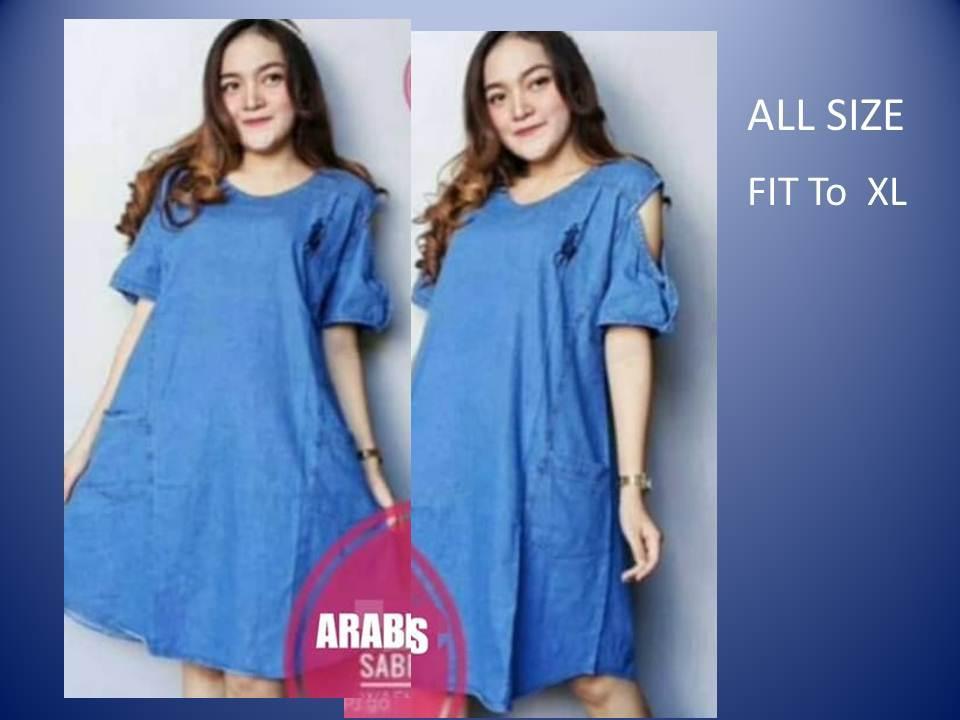Real Baju Dress Terusan Rok Pundak Bolong Sabrina Bahan Jeans