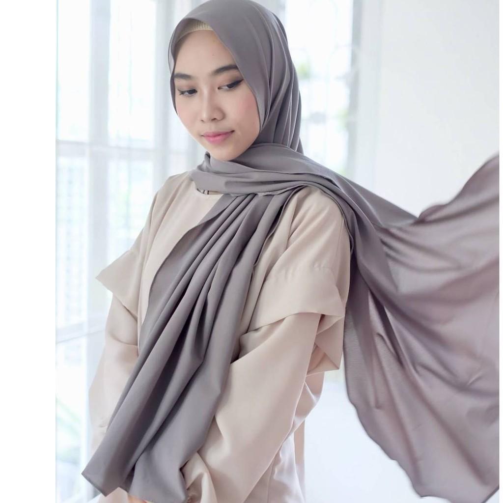 POLARIS - Hijab Polos Pashmina Diamond Crepe / Sabyan Ukuran 150cm x 75cm / Jilbab Premium / Kerudung / Scarf Wanita / Busana Muslim / Aksesoris Hijab