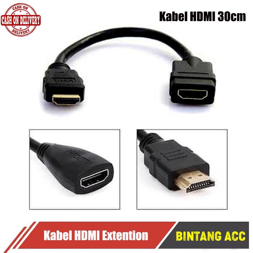 Kabel Sambungan Hdmi 30CM Male To Female Extensen Menyambungkan DVD PC Laptop komputer anycast dongle Extention Extension Extender perpanjang