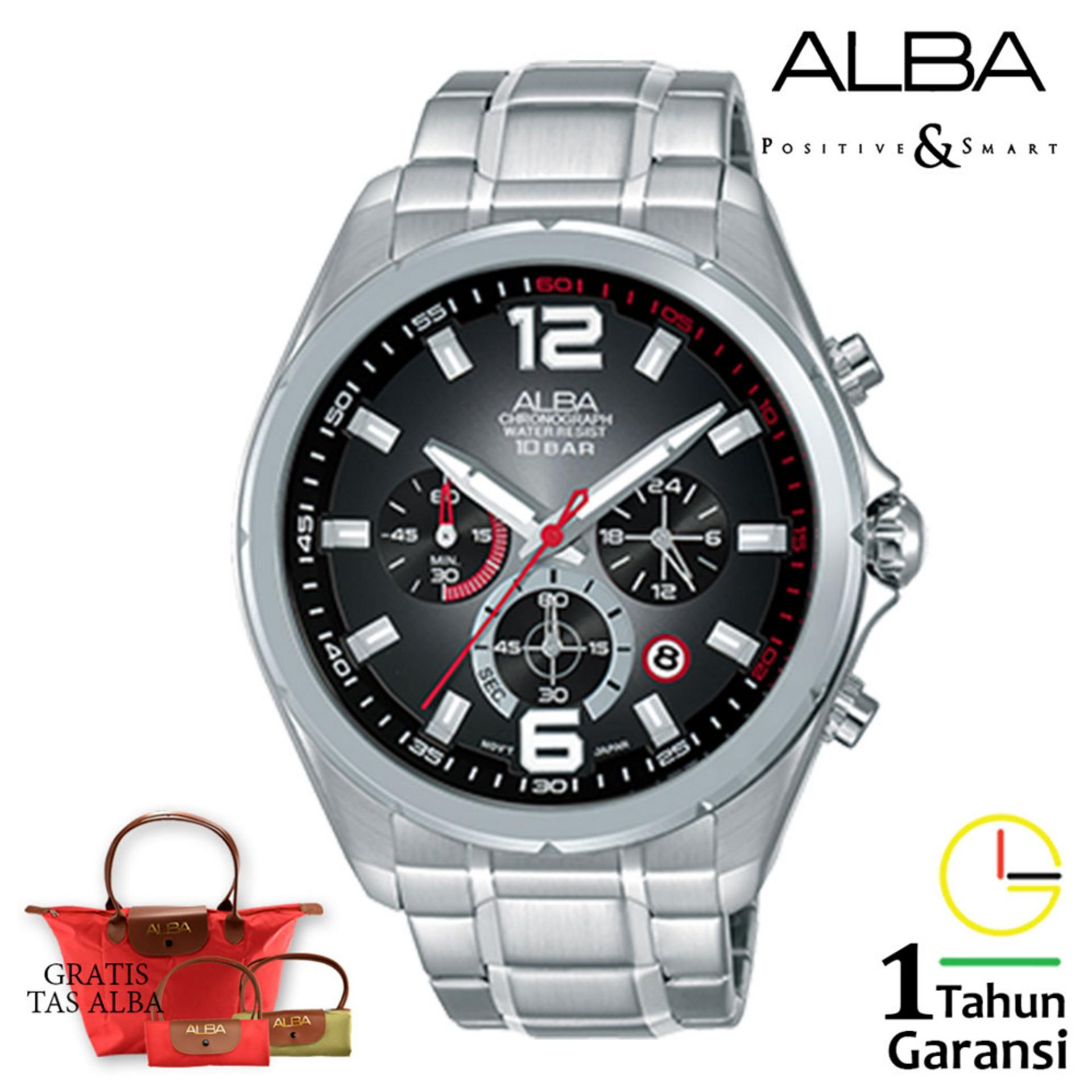 Alba AT3B Series Chronograph Jam Tangan Pria Black Dial Stainless Steel Case Leather Strap